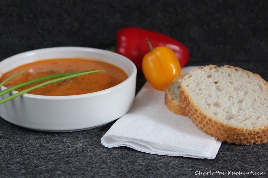 Ajvarsuppe, Partysuppe, Rezept, Kochen, Ajvar, Suppe