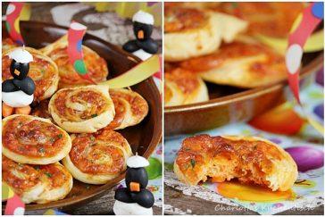 Blätterteig-Pizza-Schnecken, Pizzaschnecken, Blätterteigschnecken