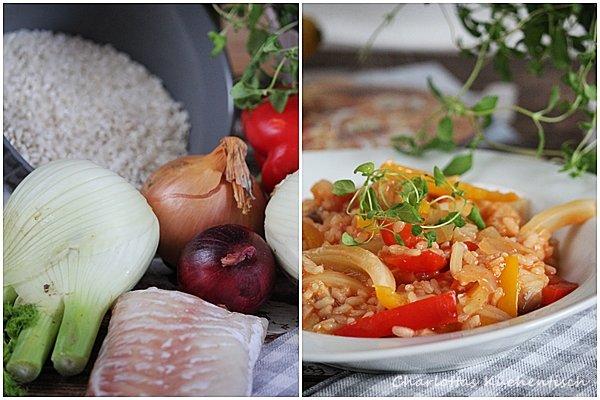 Fischtopf Nizza, Fenchel, Paprika, Fisch, Reis, kochen, Rezept, lecker