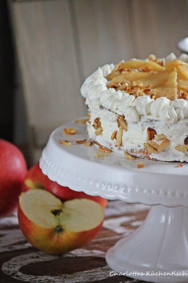 Backen, Rezept, Torte, Apfeltorte, Frischkäse, Apfel, Apfelfrischkäsetorte, Apfelkuchen