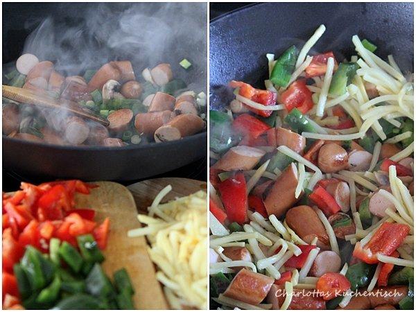 Kochen, Rezept, Wok, Brühwürstchen,Paprika, Reis