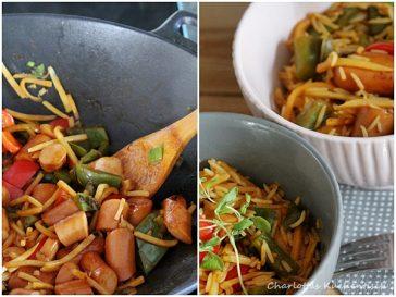 Würstchenwok, Wokgericht, Schnelle Küche, Vitamine