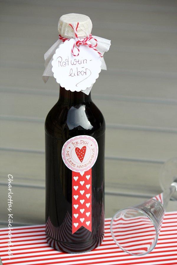 Rotwein, Likör, Geschenk aus der Küche