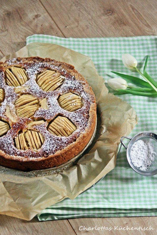 Backen Rezept Apfelkuchen Marzipan