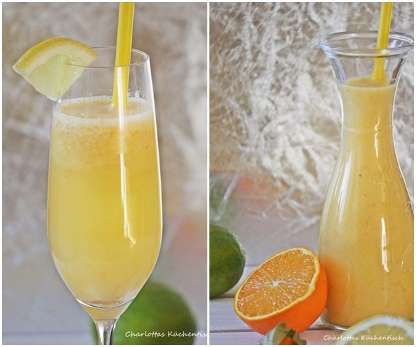 Smoothie, Mango, Banane, Pysalis, Erfrischungsgetränk, Prosecco, Orangen, Zitrone