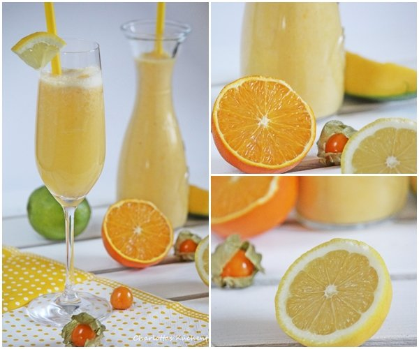 Smoothie, Mango, Banane, Pysalis, Erfrischungsgetränk, Prosecco, Orangen, Zitrone,