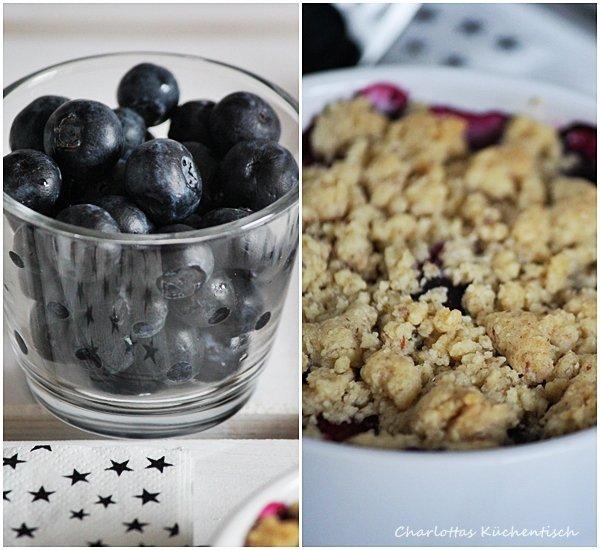 Beeren-Mandel-Crumble, Rezept, Backen, Dessert, Himbeeren, Heidelbeeren, Crumble