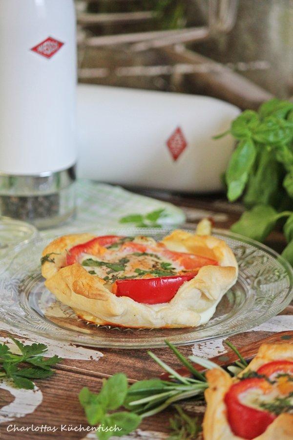Blätterteig-Paprika-Spiegelei, Kochen, Rezept, herzhaftes Frühstück, Blätterteig, Spiegelei