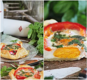 Blätterteig, Spiegelei, Paprika, Rezept, Frühstück, Breakfast, Soulfood, Kräuter