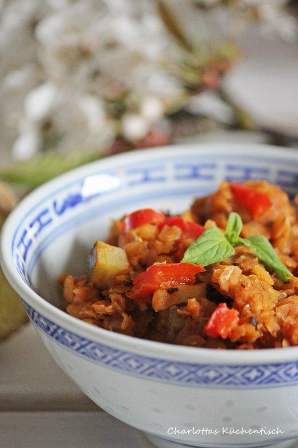 Linsenbolognese, Kochen, vegetarisch Kochen, Bolognese, Ingwer, Baharat, rote Linsen, Rezept