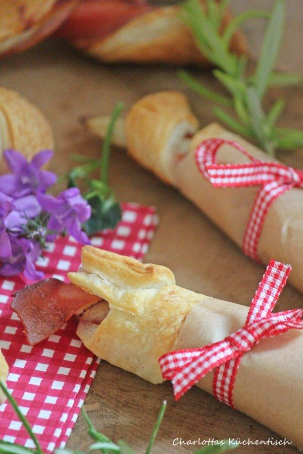 Spargel-Spargel-Schinken-Blätterteig-Röllchen, Blätterteig, Spargel, Schinken, Rezept, Kochen, Picknick, Fingerfood