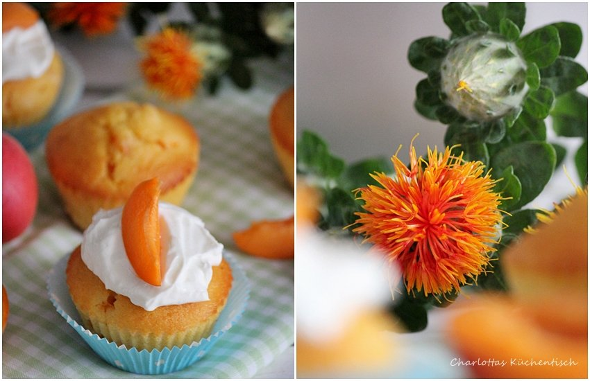 Backen, Rezept, Muffin, Muffins, Aprikose, Quarktopping, Kaffeeklatsch, Sweet Table, Aprikosenmuffins mit Quarktopping,