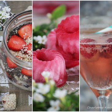 Overnight-Oats, Himbeer-Eiswürfel, Radler-Himbeer-Cocktail, Sommergetränk, Himbeeren