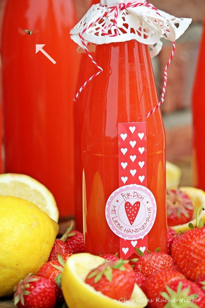 Erdbeer-Limes, Erdbeeren, Prosecco, Sommergetränk