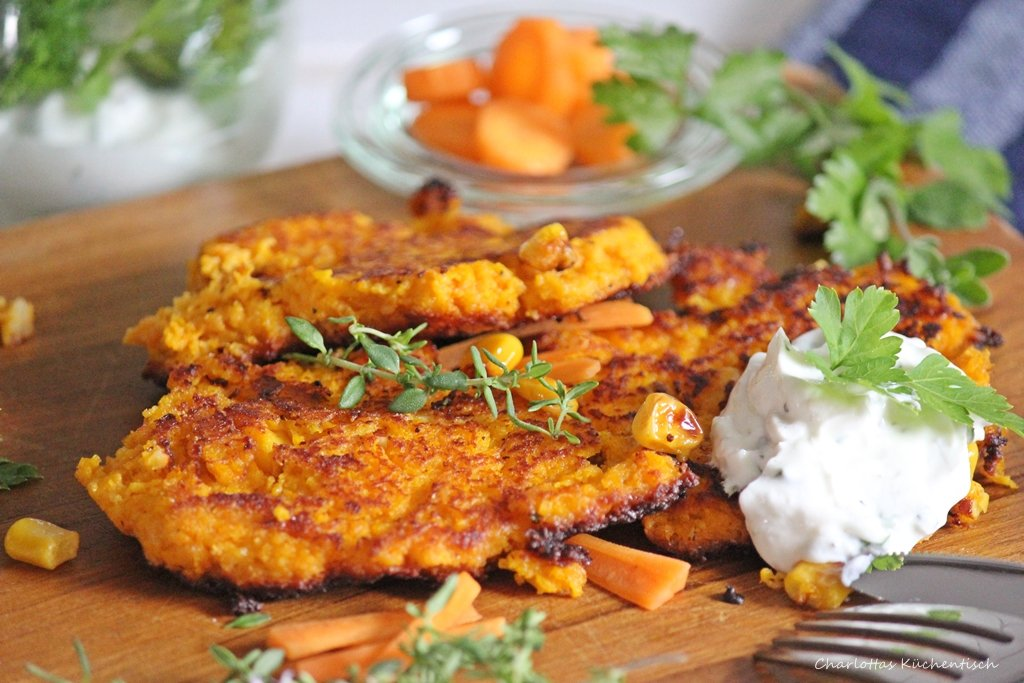 Buchrezension, Was koch ich heute?, Karottenpuffer, Kräuterquark, Kochen,
