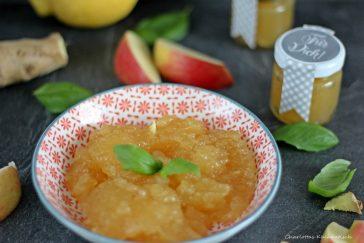 Apfel-Ingwer-Basilikum-Marmelade, Marmelade, Apfelmarmelade, Brotaufstrich, Frühstück