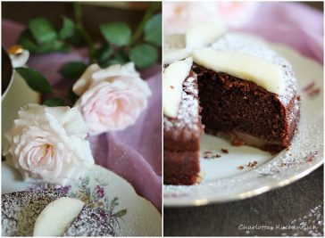 Schokolade-Joghurt-Kuchen, Schokoladenkuchen, Joghurtkuchen, Wanderteller, Backen, Rezept, Birnen