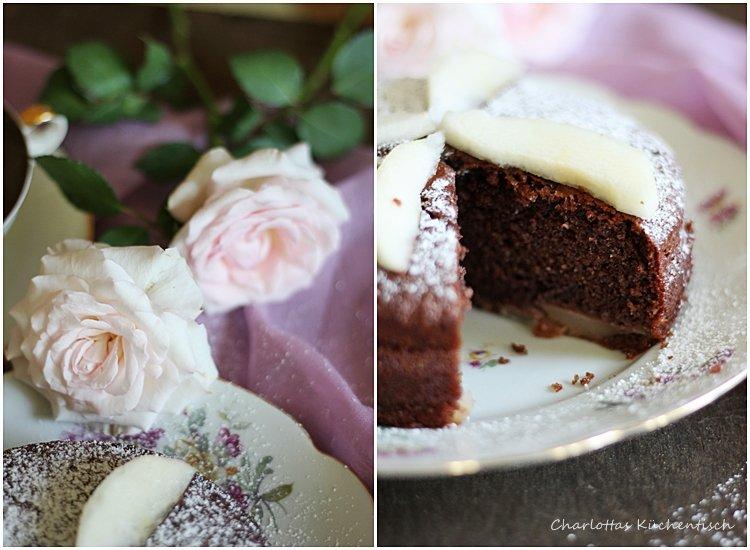 Schokoladen-Joghurt-Kuchen, Schokoladenkuchen, Joghurtkuchen, Wanderteller, Backen, Rezept, Birnen