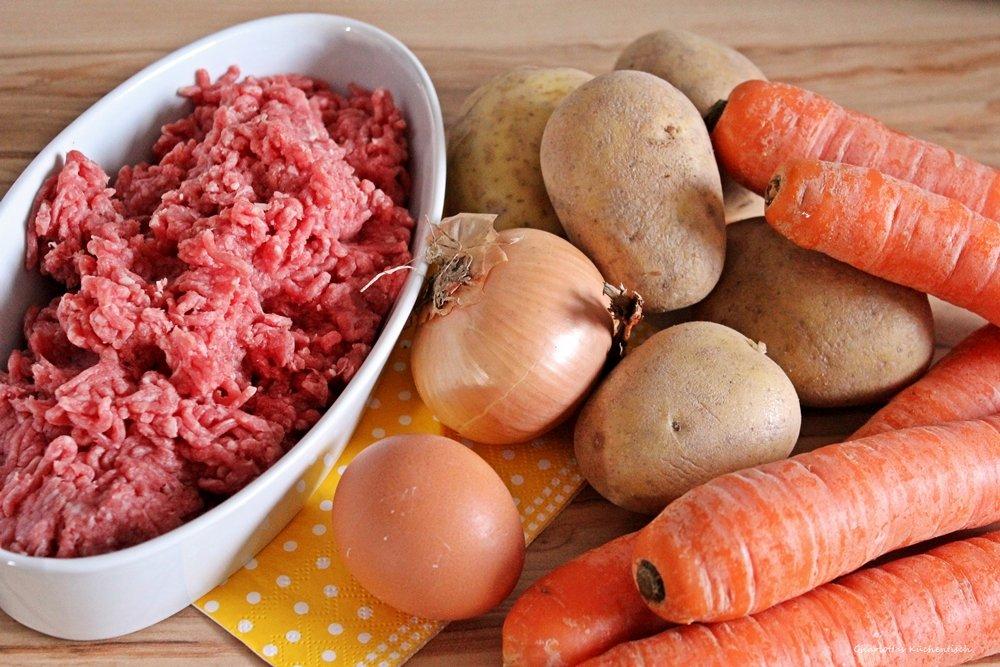 Möhren durch die Kartoffeln, Kartoffelmöhrenpüree, Kartoffelpüree, Kartoffel-Möhren-Püree, Möhrenpüree, Stampfkartoffel, Kartoffelstampf, Hackbällchen