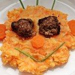 Möhren durch die Kartoffeln, Kartoffelmöhrenpüree, Kartoffelpüree, Möhrenpüree, Stampfkartoffel, Kartoffelstampf, Hackbällchen