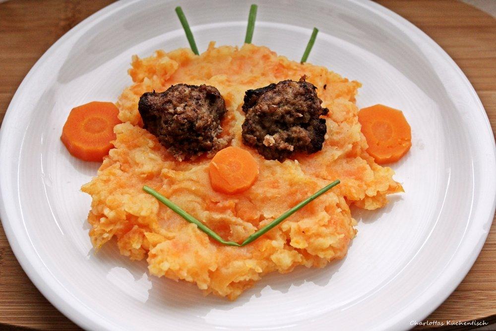 Möhren durch die Kartoffeln, Kartoffel-Möhren-Püree, Kartoffelmöhrenpüree, Kartoffelpüree, Möhrenpüree, Stampfkartoffel, Kartoffelstampf, Hackbällchen