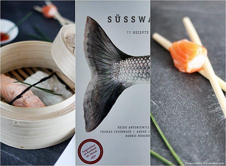 Buch Süsswasserfang, Fischrezepte, Lachs aus dem Vanilleduft, Bambuskörbchen,