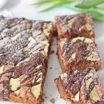 Schokoladen-Apfel-Brownies, Schokoladenbrownies, Schokolade, Äpfel, Tulpe,