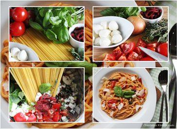 One Pot Pasta, Pasta, Spagetthi, Mozarella, Basilikum, schnelle Pasta