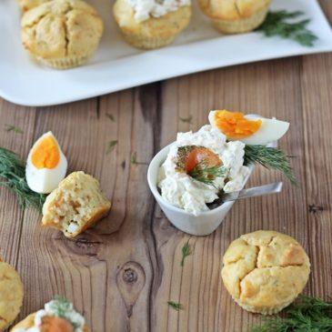 Lachsmuffins und Lachsdip