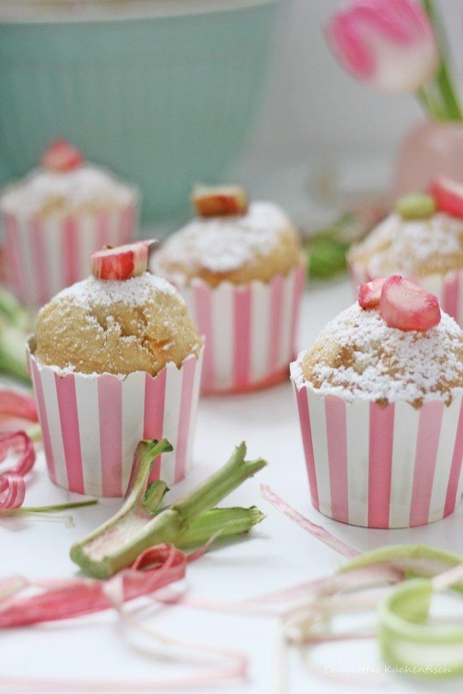 Rhabarber Wölkchen Muffins, Muffins, Wölkchenkuchen, Rhabarber, Sahne, Rhabarbermuffins