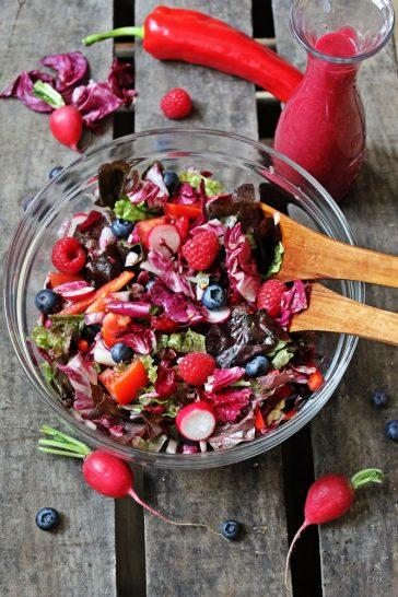Roter Salat, Blaubeerbalsam, Zapfhahn